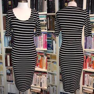 Bar III Bodycon Stretch Striped Black White Dress